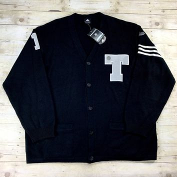 Adidas Tracy McGrady TMac Letterman T Patch Black Wool Cardigan Sweater Mens Size 2XL