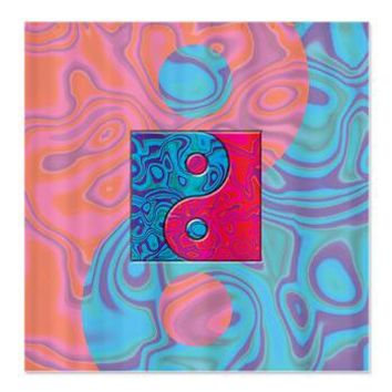 Pink Turquoise Yin Yang Shower Curtain> Multi-colored Gifts> Hippy Gift Shop Funky Hippie Gifts