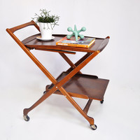 Mid-Century Rolling Bar Cart - Collapsible with Tray and Handle