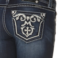 Miss Me White Leather Empire Embellished Bootcut Jean