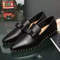 Valentino Bow Women Rivet Fashion Low heeled Shoes