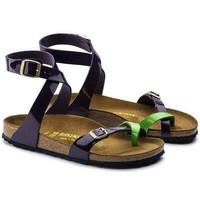 DCCK3 Birkenstock Yara Birko-Flor Tropical Green Lilac Beach Sandals