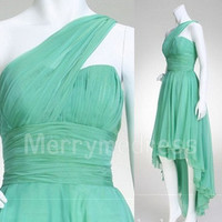 Sheer Straps Strapless High Low Long Empired Bridesmaid Celebrity Dress, Chiffon Formal Evening Party Prom Dress New Homecoming Dress