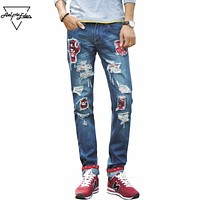 Fashion Blue Ripped Jeans Men Straight Slim Denim Trousers Cartoon Print Retro Casual Biker Jeans Home