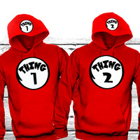 """Thing1 Thing2 """"Cute Couples Matching Hoodies"""""""