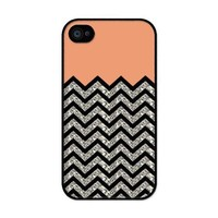 iZERCASE Chevron Pattern Coral and Black rubber iphone 4 case (NOT GLITTERY) - Fits iphone 4 & iphone 4s