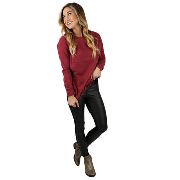 I'll Be Your Sweetheart Sweatershirt in Burgundy