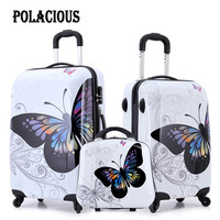 """20""""+24""""+12"""" amazing hot sales Japan butterfly ABS trolley suitcase luggage sets/Pull Rod trunk/traveller case with spinner wheel"""