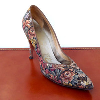 Vintage Stiletto Pumps, Womens Spike Heel Flower Shoes, Floral Brocade High Heel Shoes, Size 6 Narrow Quad