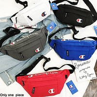 Champion sells a hip women's canvas print bag that straddles her chest