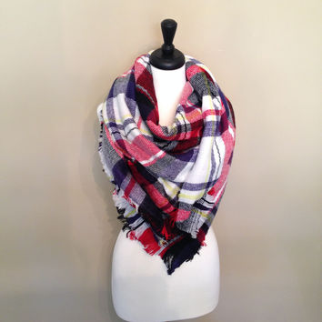 Red, White and Blue Blanket Scarf by KnitPopShop