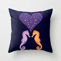 Seahorse Love Throw Pillow by Ornaart