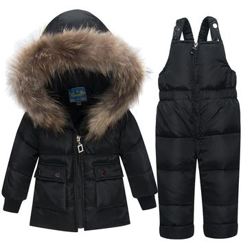 Thanks Giving Toddler Snowsuit Zipper Outfits With Hooded Kids Girl Boy Winter Clothes Boutique Baby Coat 90%white Duck Down