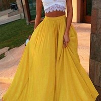 Two Piece Prom Dress White Lace Top Yellow Skirt Maxi Dress