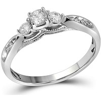 10kt White Gold Womens Round Diamond 3-stone Bridal Wedding Engagement Ring 3/8 Cttw 106292