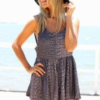 Snakeskin Print Playsuit with Round Neck & Low Plunge Back