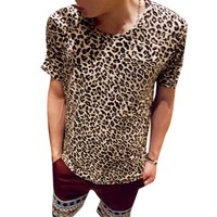 Allegra K Men Short Sleeves Round Neck Leopard Print T-Shirt Beige M