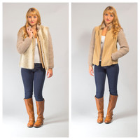 Faux fur sleeveless vest with suede crochet jacket coat set
