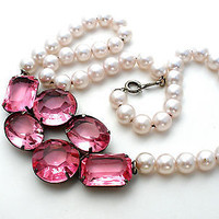 Vintage Pink Rhinestone Pearl Necklace 17 Inch Wedding