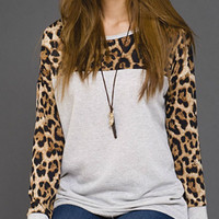 Animal Print Tunic Top - Heather Gray