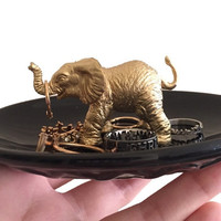 Gold elephant with black dish ring holder
