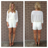 Ivory Madison 3/4 Sleeve Romper