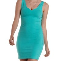 Mint Scalloped Sweetheart Bodycon Tank Dress by Charlotte Russe