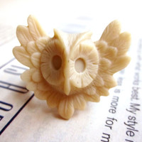 Harry Potter resin yellow owl adjustable brass ring