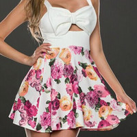White Bow Tie Pattern Sleeveless Floral Dress