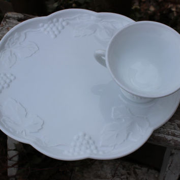 Milk Glass luncheon plate sets, wedding serving, vintage Harvest Colony, 28 AVAILABLE, white glass serving plates, snack set plates / cups