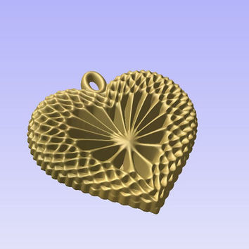 Heart shaped pendant 3D STL model for cnc carving vectric aspire cut3d artcam 3d printer