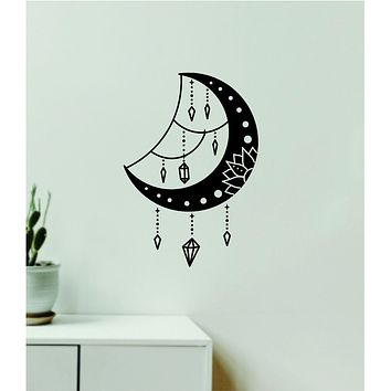 Moon Crystals Decal Sticker Wall Vinyl Art Wall Bedroom Room Home Decor Teen Inspirational Girls Yoga Zen Meditate Namaste Tattoo