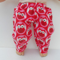 """American Girl Bitty Baby Clothes 15"""" Doll Clothes Red Pink White Owl Flannel Pants or Pj Pants Christmas Winter Fall Autumn Fashion"""