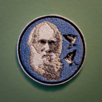 CHARLES DARWIN -- Embroidered Iron-on Scientist Portrait Patch
