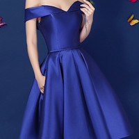 Royal Blue Off Shoulder Sweetheart Lacing Back Homecoming Dress