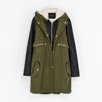 COMBINATION PARKA WITH FAUX LEATHER SLEEVES - Coats - Woman | ZARA United States