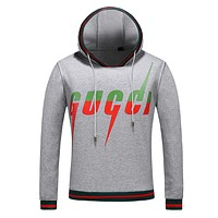 GUCCI Hot Sale Men Casual Print Long Sleeve Hoodie Top Sweater Grey