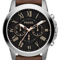 Fossil 'Grant' Round Chronograph Leather Strap Watch, 44mm - Brown/ Black