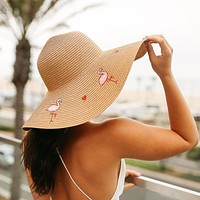 Pink Flamingo Floppy Straw Hat