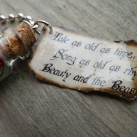 """Beauty And The Beast """"Tale As Old As Time"""" Tag and Glass Bottle With Rose Necklace"""