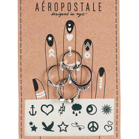 Aeropostale  Ring and Temporary Tattoo Set - Silver, 6