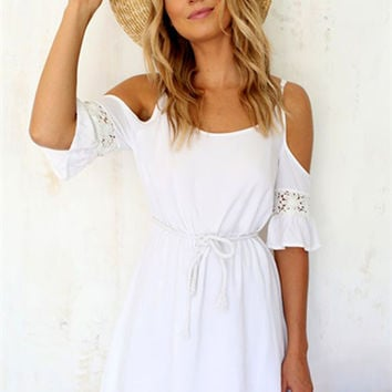 White Lace Off the Shoulder Dress
