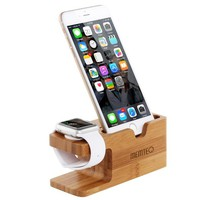 MEMTEQ Apple Watch and iPhone Bamboo Stand Charging Dock Station Bracket Cradle Holder For Apple iPhone 6s, 6 Plus, 6, 5s, 5, 4, Apple Watch iWatch