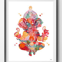 Ganesha Watercolor Print god lord ganesh poster Spiritual art yoga Art Ganapati Vinayaka Remover of Obstacles symbol ganesh hindu god [694]