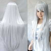 MapofBeauty Long Cosplay Party Silver White Mixed Straight Wig 100cm