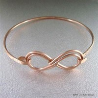 Double Infinity Hammered Copper Bangle
