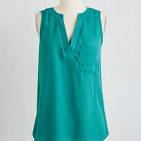 Mid-length Sleeveless Teal the End of Time Top by ModCloth