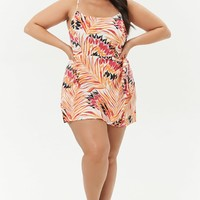 Plus Size Abstract Leaf Print Mini Skort Romper