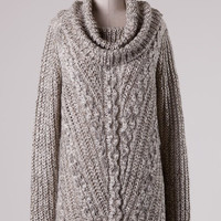 Cowl Neck Cable Knit Tunic Sweater - Oatmeal