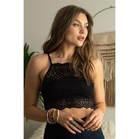 Stay With Me High Neck Bralette - Black